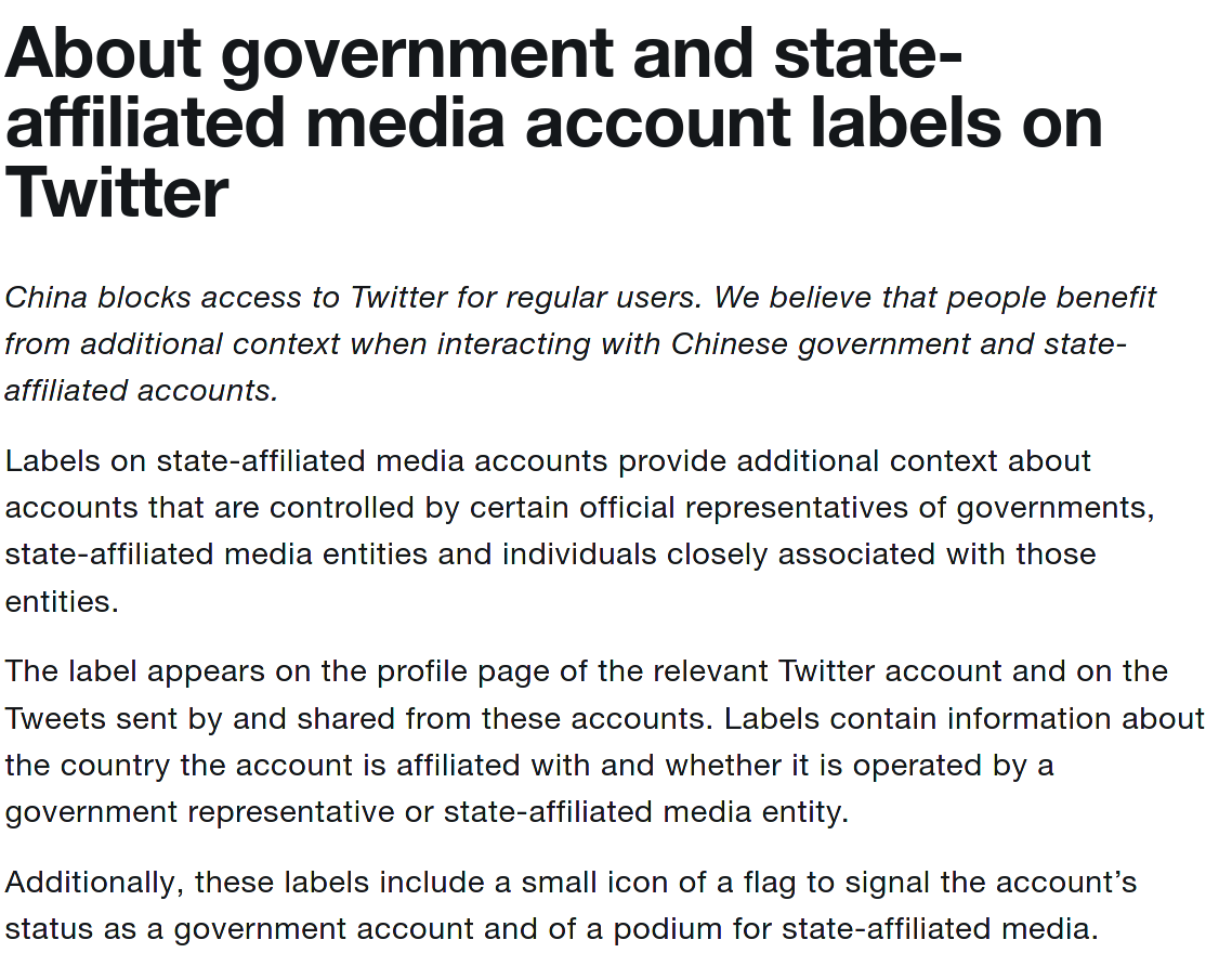 twitter state affliated policy, part 1, for China